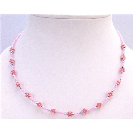 Fancy Beads Pink Tiny Beads w/ Pink Tiny Flower 15.5 inches Necklace