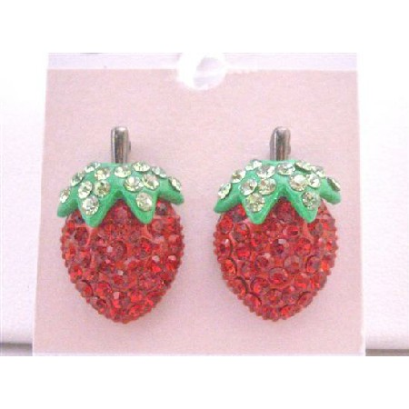 Earrings Juicy Strawberry Stud Earring Sparkling Embedded Red Crystals