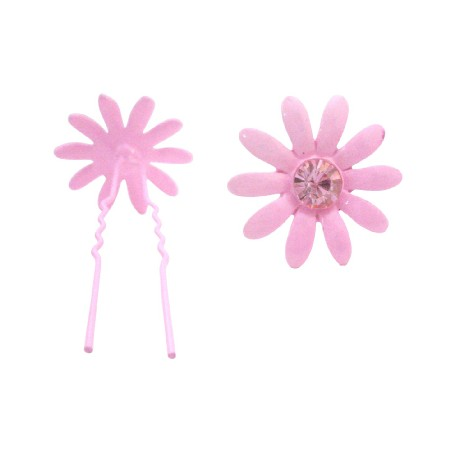 Daughter Gift Hair Pin in Rose Crystals Girls Pink Flower Hair Pin