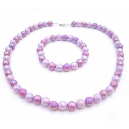 Girls Gift Inexpensive Necklace & Bracelet Purple Flower Girl Gift