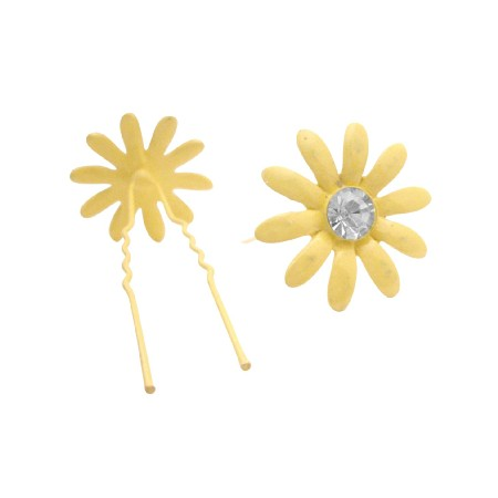 Hair Pin To Yellow Dress Flower Hair with Jonquil Crystal Hair Jewelry