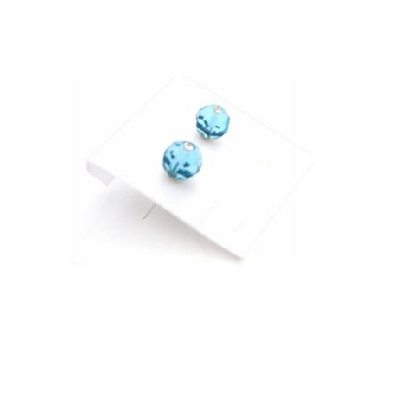 Girls Stud Earrings in Blue Aquamarine Crystals Under $3