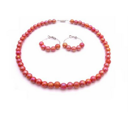 Girls Necklace Set Red Orange Beads Hoop Earrings Flower Girl Jewelry