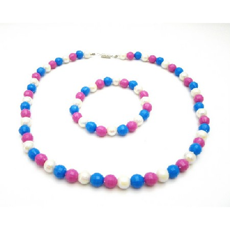 Flower Girls Return Gift BLue Pink White Beads Necklace Bracelet