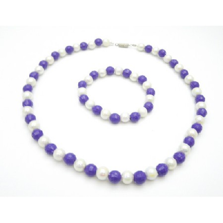 Wedding Flower Girls Purple & White Multifaceted 8mm Necklace Bracelet