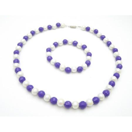 Wedding Flower Girls Purple & White Multifaceted 8mm Necklace Bracelet