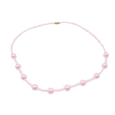 Little Girls Bright Pink Beaded Necklace Affordable Dollar Necklace