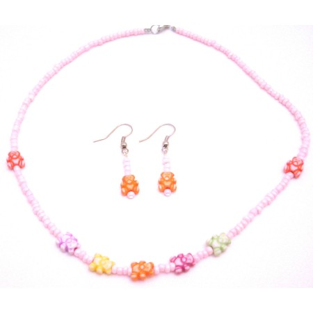 Find Unique Gift Idea Jewelry Pink Bead Necklace Cute Teddy Bear Beads