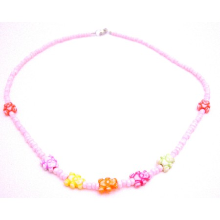 Cute Teddy Bear Beads Girls Jewelry Pink Beaded Necklace Bear Beads