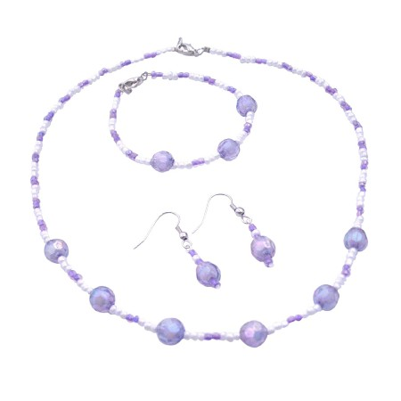 Wedding Jewelry Flower Girl Purple White Round Beads Necklace Earrings