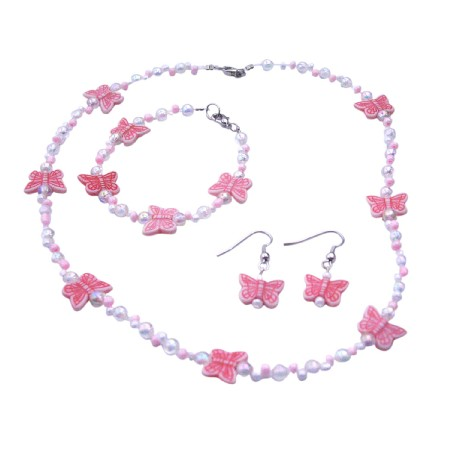 Jewelry Pink Butterfly Tiny White Pink Bead Necklace Earrings Bracelet