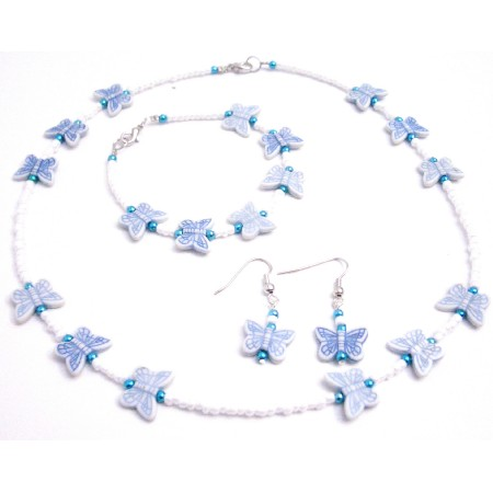 Jewelry White Tiny Beads Blue Butterfly Necklace Earrings Bracelet