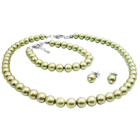 Wedding Flower Girl Jewelry In Beautiful Pistachio Pearls Jewelry