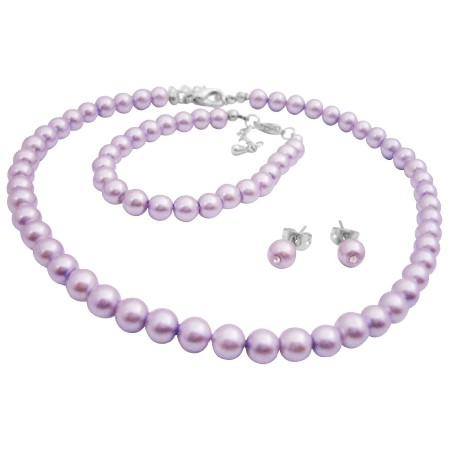 Gorgeous Smashing Stylish Pearls Jewelry Complete Set in Purple Color