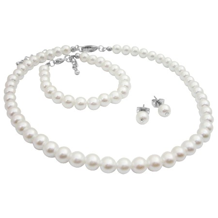 Customize Baptism Jewelry In Your Color & Size White Pearls Set