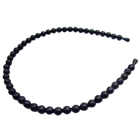 Black Headband Pearls Striking Headband