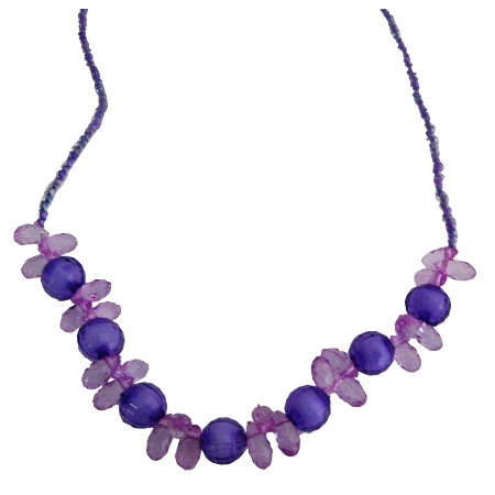 Purple Glass Beads Necklace For Girls School Function
