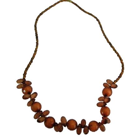 Flower Girl Brown Beads Necklace Wedding Shower