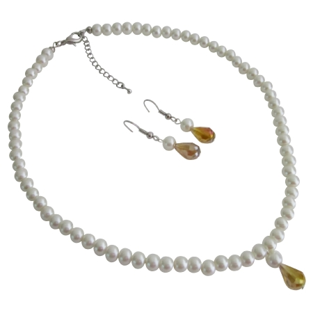 Faux White Pearls with Smoked Topaz Teardrop Bridesmaid Jewelry