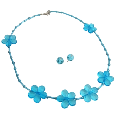 Flower Girls Necklace with Stud Earrings