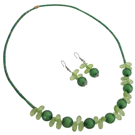 Teardrop Fancy Lite And Dark Green Beads Necklace Earrings Set