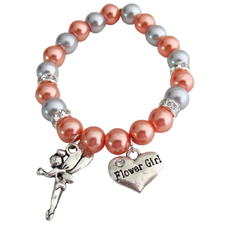 Flower Girl Charm Wedding Gift Bracelet Orange Gray Pearls