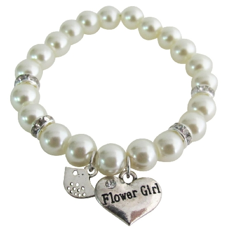 Junior Bridesmaid Flower Girl Gift Ivory Pearl Bracelet