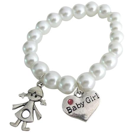 Baby Girl Bracelet with Girl & Baby Girl Charm Bracelet