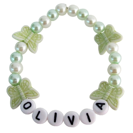 Infant Toddler Name Bracelet Children Jewelry in Butterfly & Pearls