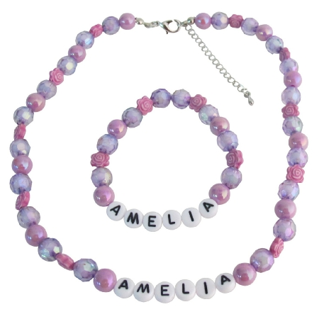 Personalized Necklace Bracelet Holiday Gift Purple Beads Flower Beads