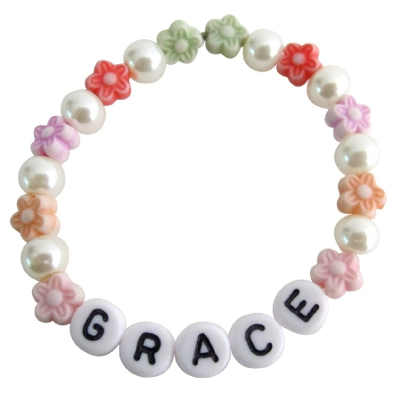 Personalized Children Stretchable Bracelet Star Beads & Ivory Pearls
