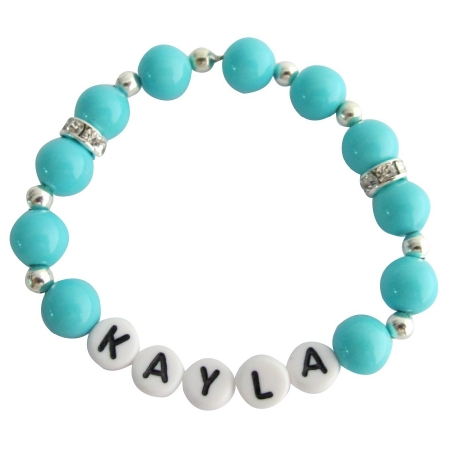Baby Bracelet Baby Girl Gift Personalized Baby Jewelry Blue Plearl