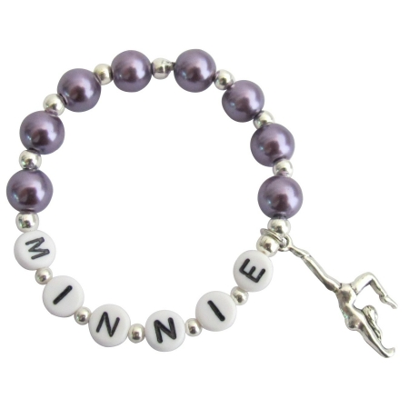 Gymnastics Charm Name Bracelet Dark Purple Pearls Bracelet