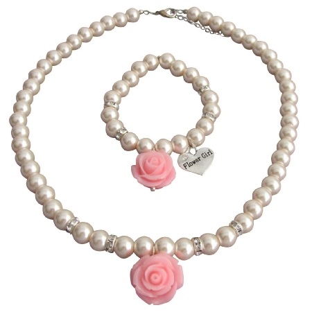 Rose Necklace Bracelet Wedding Jewelry Blush Pink Pearls