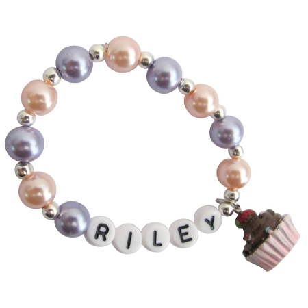 Cupcake Jewelry Name Bracelet Party Favor Bracelet Baby Toddler