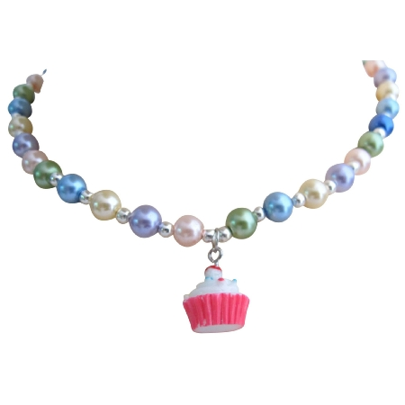 Cupcake Necklace Pastel Pearls Jewelry Necklace Cute Gift