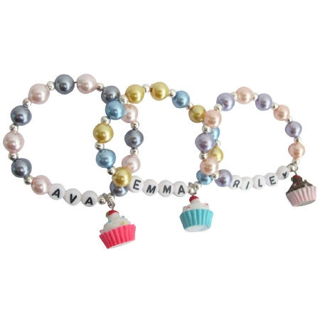 Cupcake Charm Bracelet Christmas Bracelet Return Birthday Gifts