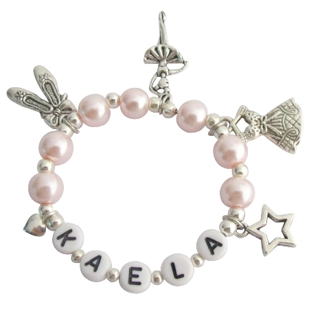 Recital Gift Ballet Bracelet Blush Pink W/ Multiple Ballet Charms