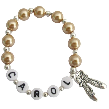 Personalized Ballet Jewelry Golden Champagne Pearl Bracelet