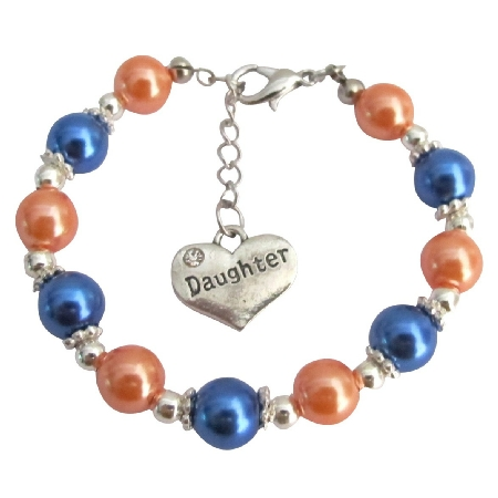 Daughter Charm Bracelet Special Daughter Gift Orange Blue Pearls