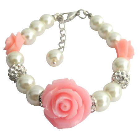 Lite Pink Flower Bracelet Wedding Bracelet Flower Girl Rose Bracelet