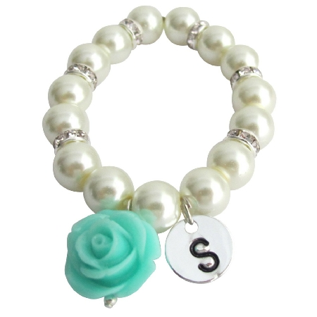 Personalied Flower Girl Bracelet with Mint Green Flower Dangling