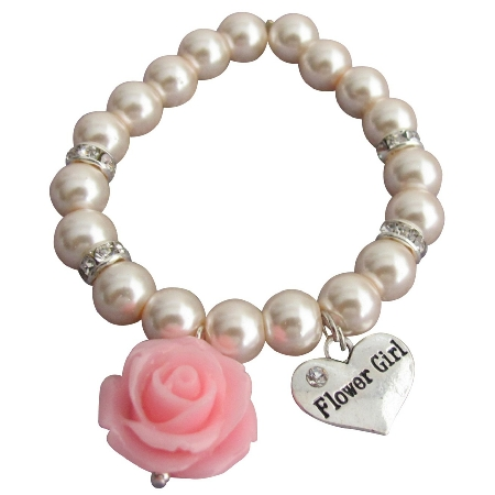 Resin Rose Flower Bracelet Flower Girl Gift Blush Pink Pearl Bracelet