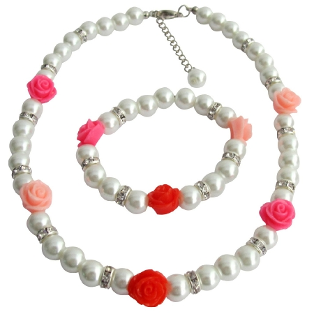 Children Pearl Jewelry with Rose White Pearls Necklace Bracelet