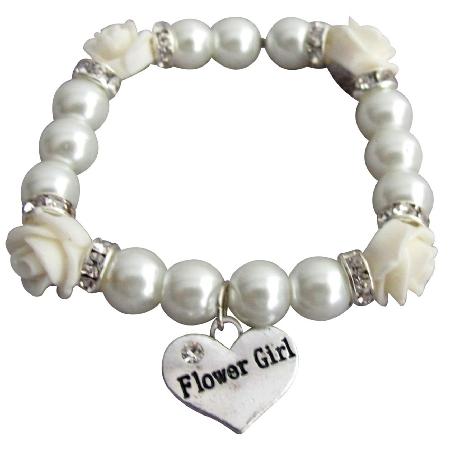 Flower Girl Bracelet Wedding Gift Ivory Rose Flower Bead Spacer