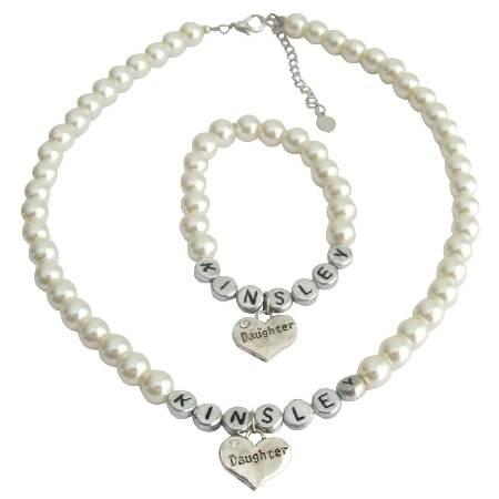 Big Sister Little Sister Ivory Pearl Personalized Necklace Bracelet