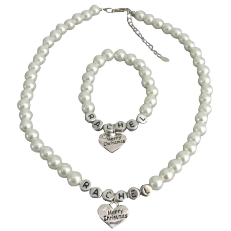 Personalized Christmas Gift Name Necklace & Bracelet Set