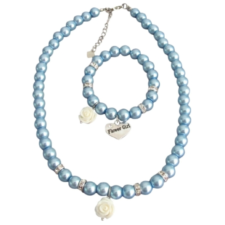 Wedding Pearl Flower Jewelry Blue Pearls White Rose Necklace Bracelet
