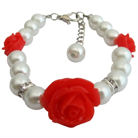 Little Girls Bracelets Red Rose Flower Bracelet Christmas Gift