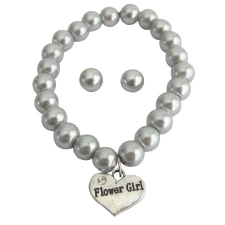 Bracelet & Stud Earrings Set Gray Pearls Flower Girl Jewelry